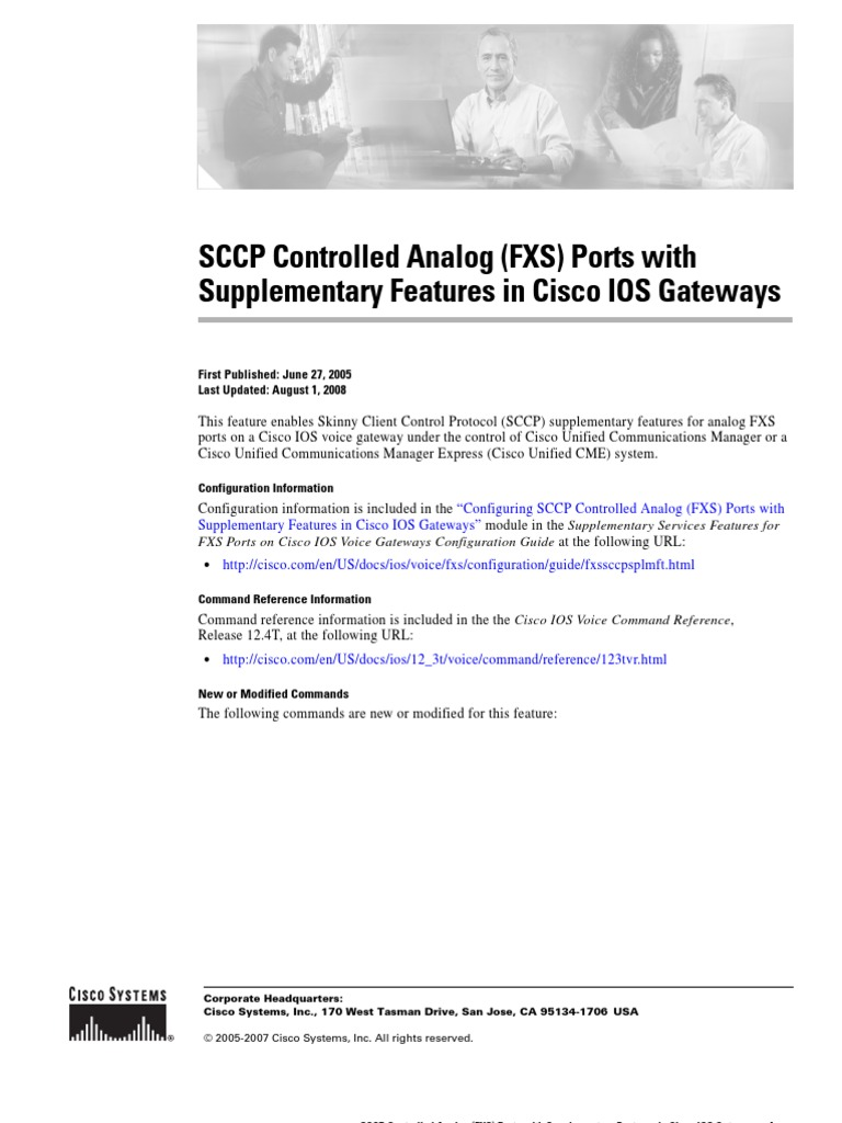 SCCP Controlled Analog (FXS) Ports with Supplementary