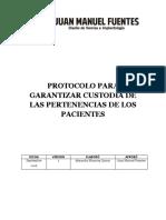 PROTOCOLO PARA GARANTIZAR CUSTODIA DE PERTENENCIAS DE LOS PACIENTES