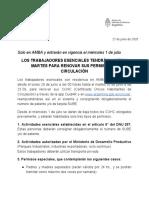 LOS TRABAJADORES ESENCIALES TENDRÁN LUNES Y MARTES PARA RENOVAR SUS PERMISOS DE CIRCULACIÓN