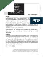 Formación de la personalidad autoritaria en Colombia y la exclusión y violencia conra el sujeto étnicamente diferente