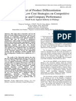 The Effect of Product Differentiation Strategies and Low Cost Strategies on CompetitiveAdvantage and Company Performance (Study on Small Scale Apparel Industry in Malang)