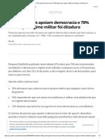 Datafolha_ 75% apoiam democracia e 78% dizem que regime militar foi ditadura _ Política _ G1