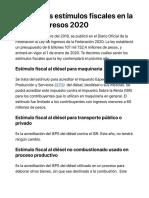 Estimulos fiscales en la Ley de Ingresos 2020