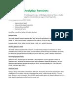 Analytical Functions Recap