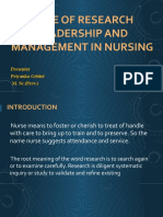 ROLE OF RESEARCH LEADERSHIP AND MANAGEMENT IN NURSING
