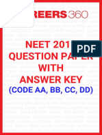 NEET 2018 English Question Papers With Answer Key Code AA Yv5hvCN