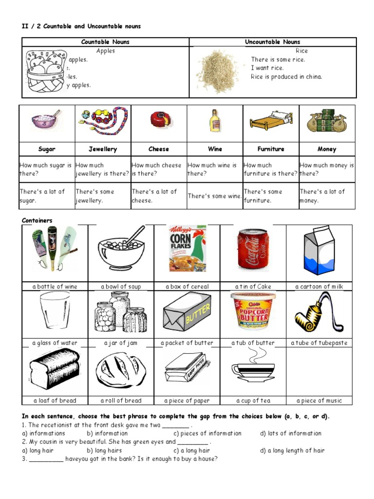 Countable And Uncountable Nouns Exercises Noun Food Wine