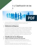 Definición y Clasificación de las Empresas