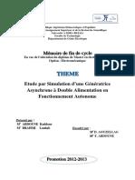 Etude par Simulation d'une Génératrice Asynchrone à Double Alimentation en Fonctionnement Autonome.pdf