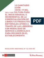 Protocolo para la Venta de Libros aprobado por el Ministerio de Cultura