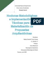 Nociones Metodológicas e Implementación de Técnicas para la Materialización de Propuestas Arquitectónicas