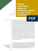 Prácticas profesionales, modelos de intervención y proceso de producción de conocimientos