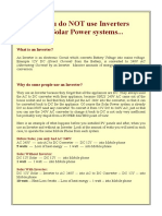 Why you do not use Inverters with Solar Power systems