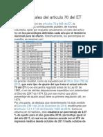 Ajustes fiscales del artículo 70 del ET
