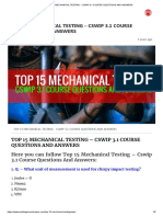 TOP 15 MECHANICAL TESTING - CSWIP 3.1 COURSE QUESTIONS AND ANSWERS