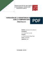 variacion de la resistencia electrica con la temperatura, Ing. Quimica