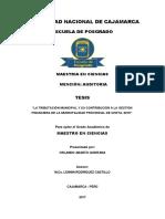 """""""La tributación municipal y su contribución a la gestión financiera de la Municipalidad Provincia"""