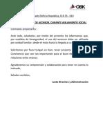 ELR 35 - 010 COMUNICADO USO DE ASCENSOR COVID19