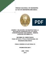 Diseño y Selección de Equipos Para La Seccion de Chancado de La Planta Concentradora San Andres - Minera Aurifera Retamas s.a.