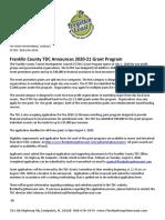 Franklin County TDC Announces 2020-21 Grant Program