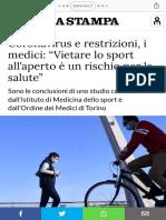 """Coronavirus e restrizioni, i medici """"Vietare lo sport all'aperto è un rischio per la salute"""".pdf"""