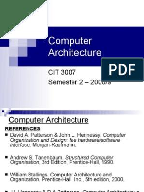 27301020 Computer Architecture Central Processing Unit Input Output