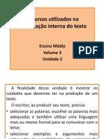Unidade 11 Recursos Utilizados Na Organização Interna Do Texto