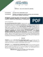 ACCION DE TUTELA CONTRA SENTENCIA - CORTE SUPREMA DE JUSTICIA - SALA DE CASACION LABORAL