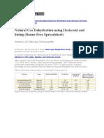 Natural Gas Dehydration using Desiccant and Sizing (Bonus Free Spreadsheet)