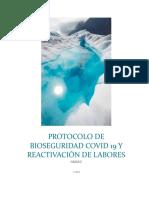 PROTOCOLO DE BIOSEGURIDAD COVID 19 Y REACTIVACIÓN DE LABORES