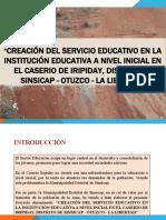 CREACIÓN DEL SERVICIO EDUCATIVO EN LA INSTITUCIÓn