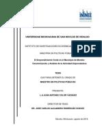El emprendimiento verde en el municipio de Morelia. Caracterización y análisis de la actividad emprendedora. Tesis