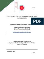 Standard Tender Document (National)For Procurement of Goods OTM