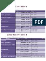 Dates Bac 2011 série S
