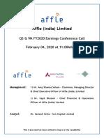 Affle Earnings Call Transcript - Q3 & 9M FY2020