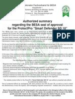 Testing & Certification Summary – SD10