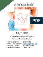07052020 Virtual Service Worship Bulletin