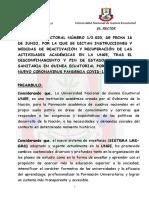 Resolucion Rectoral Medidas sobre Reactivacion Actividades Academicas en la UNGE junio-agosto 2020