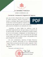 El Papa Francisco bendijo el Encuentro Anual de ACDE