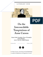 Irreconcilable Temptations of Anne Carson