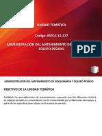 MECA-11-117 ADMINISTRACIÓN DEL MATENIMIENTO DE MAQUINARIA Y EQUIPO PESADO