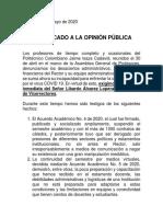 Comunicado Asamblea General de Profesores 2020-05-03