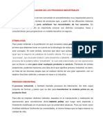 CLASIFICACIÓN DE LOS PROCESOS INDUSTRIALES