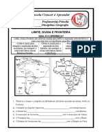 ATIVIDADE DE GEOGRAFIA 4º ANO Limites e fronteiras