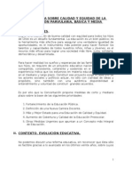 PROPUESTA SOBRE CALIDAD Y EQUIDAD DE LA EDUCACIÓN PARVULARIA