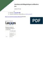 Représentations métalinguistiques ordinaires et discours