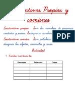 ACTIVIDAD DE LOS SUSTANTIVOS PROPIOS Y COMUNES