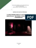 A atriz dramaturga e autoficcção no espetáculo MATRIZES - AVÓS REGALOS E SOBREMESAS