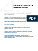 MEDIA RESOURCES FOR COVERAGE OF U.S.-CHINA TRADE ISSUES