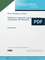 Programa Didáctica especial y práctica de la enseñanza de filosofía-1980